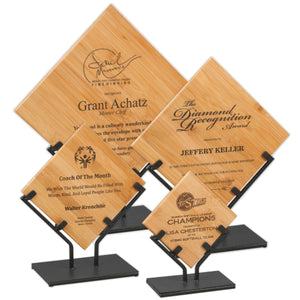 LA Trophies - Bamboo Diamond Plaques in Black Iron Stand | 4 SIZES