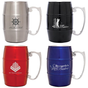 17 oz. Stainless Steel Barrel Shaped Mug with Handle | 4 COLORS