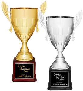 Premier - Jumbo Panel Metal Cup Trophies on Piano Finish Base | 2 COLORS | 3 SIZES