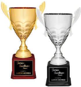 Premier - Jumbo Riple Metal Cup Trophies on Piano Finish Base | 2 COLORS | 3 SIZES
