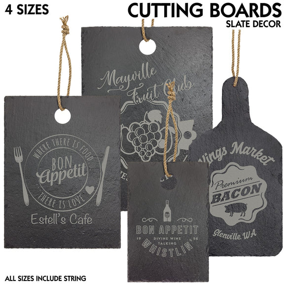 Slate Stone Rectangle Cutting Board Decor | 4 SIZES