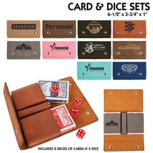Customizable Leatherette Playing Cards and Dice set | 10 COLORS