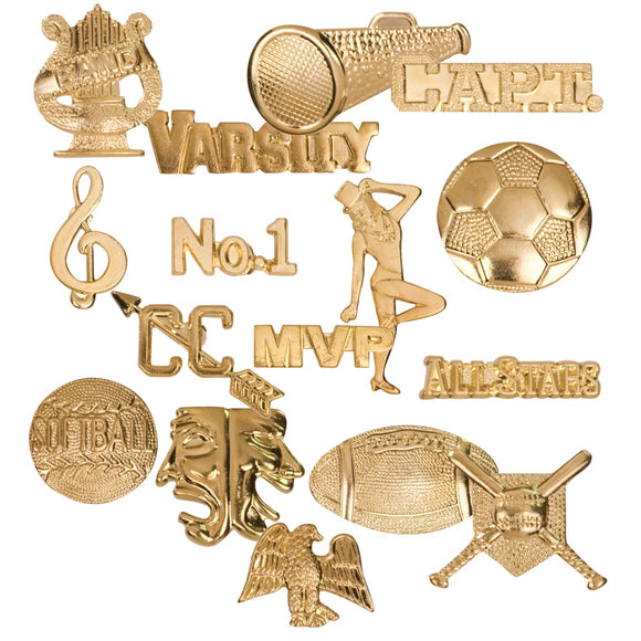 Chenille Gold Metal Lapel Letter Insignia Pins | 48 STYLES