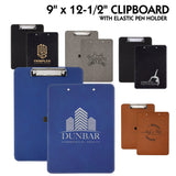 "Customizable Leatherette 9"" x 12-1/2"" Clipboards 