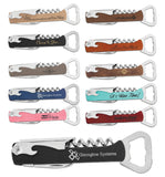Leatherette Stainless Corkscrew Bottle Openers | 11 COLORS