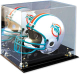 Mirrored Display Case with Elevated Platform for Regulation Size Football Helmet