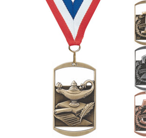 "2-3/4"" Cut-Out 3D Dog Tag Style Medals on 7/8"" Neck Ribbons 