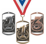 "2-3/4"" Dog Tag Style Place Medals on 7/8"" Neck Ribbons 