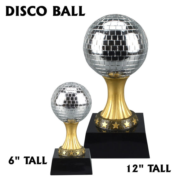 Disco Mirror Ball Resin Statue Dance Award Trophy | 2 SIZES