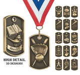 "2"" High Detail 3D Dog Tags on Neck Ribbon, Chain or Keyring 