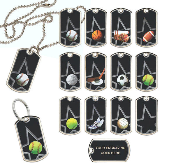 Black Star Laserable Dog Tags on Neck Chain or Keyring | 13 Styles