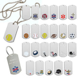 Chrome Finish Dog Tags on Neck Chain or Keyring | 23 Styles