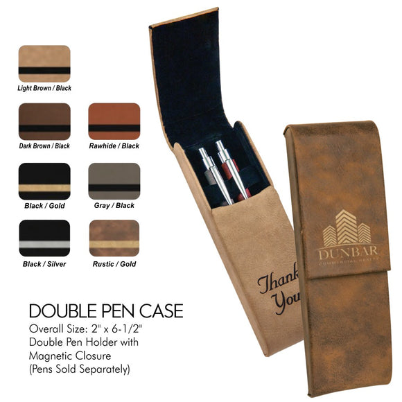 Customizable Leatherette Double Pen Holder Case | 7 COLORS