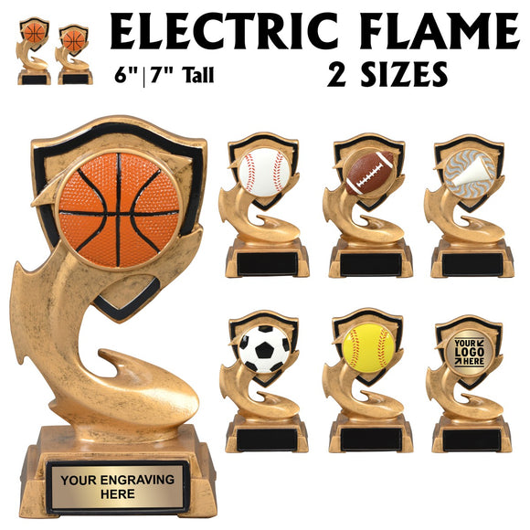Electric Flame Series Sport Activity Resin Awards | 7 STYLES | 2 SIZES