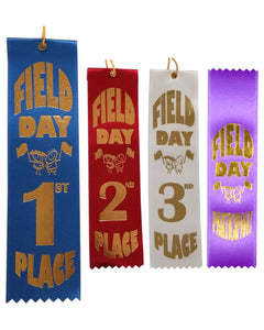 "2"" x 8"" Field Day Event Ribbons with card on back 