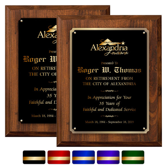 LA Trophies - Extra Large Size Plaque with Solid Color Plate and GOLD Engraving - 12x15 | 5 PLATE COLORS