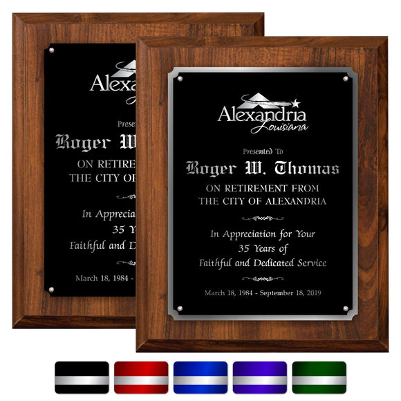 LA Trophies - Extra Large Size Plaque with Solid Color Plate and SILVER Engraving - 12x15 | 5 PLATE COLORS
