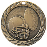 "2"" FE Series Iron Football Award Medals on 7/8"" Neck Ribbons 