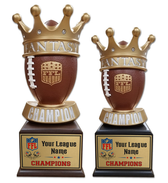 Fantasy Football League Crown Ball Resin Box Base Trophies with Perpetual Options