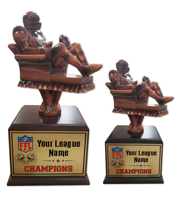 Fantasy Football League Arm Chair Player Resin Box Base Trophies with Perpetual Options