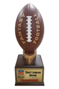 Fantasy Football League Football Resin Box Base Trophy with Perpetual Options