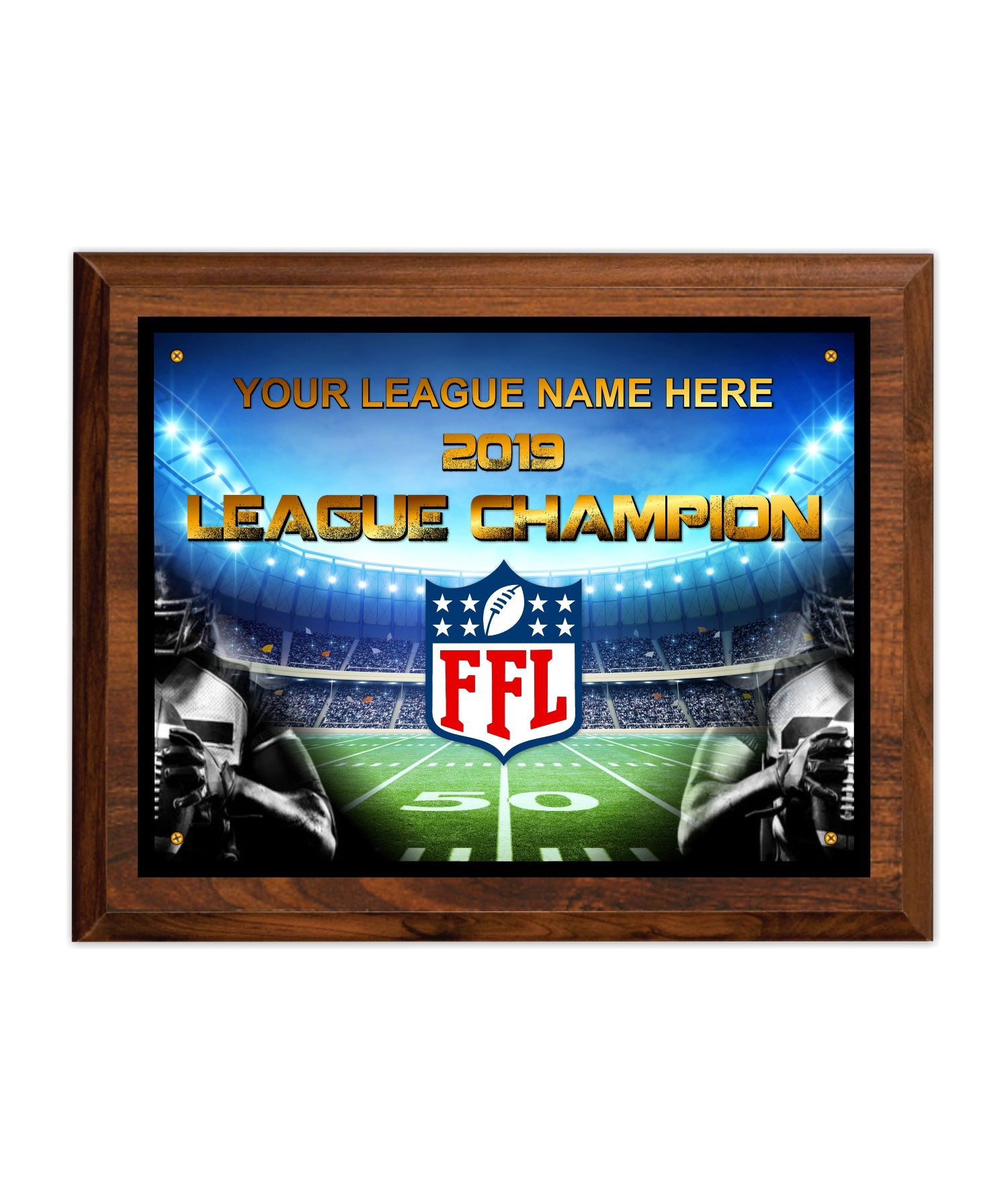 Fantasy Football League 8 X 10 Cherry Finish Individual Champion