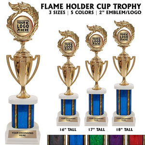 "Flame 2"" Emblem Holder Award Wide Riser Cup Trophies 