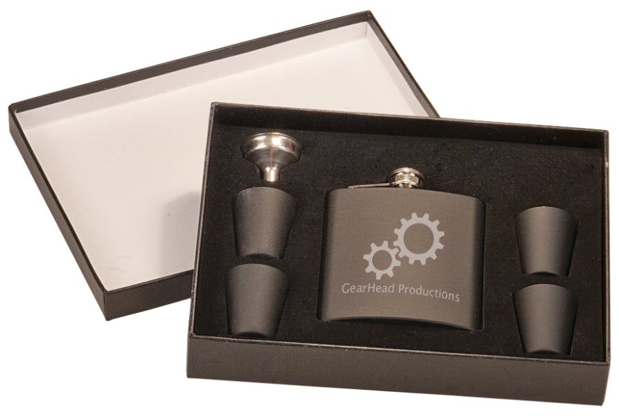 6 oz Flask Gift Sets with 4 Shot Glasses | 4 Colors Available