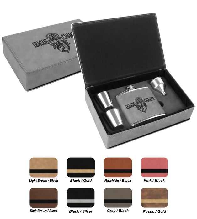 6 oz. Flask Leatherette Gift Box Set | Leatherette Flask - 9 COLORS