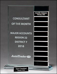 Airflyte 1/2 inch thick Jade glass award with 12 individual aluminum blocks - Perfect for monthly recognition or milestone awards
