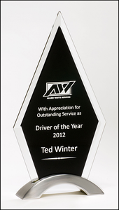 "Airflyte 3/8"" thick Diamond Series Award featuring a beveled glass upright on a brushed silver aluminum base 