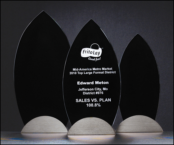 "Airflyte 3/8"" thick Black Flame Series Glass Award with gunmetal finish base 