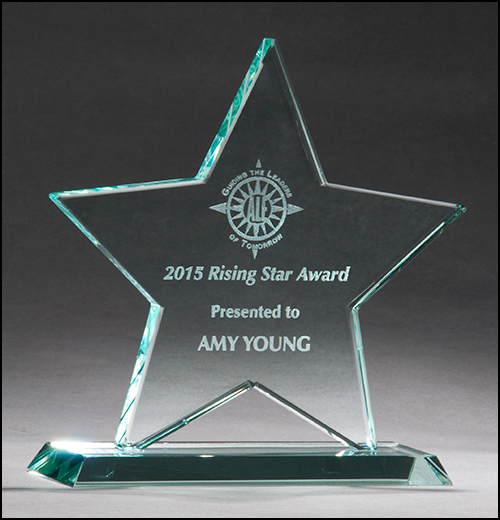 Airflyte 3/8 inch thick Jade Star Glass Award