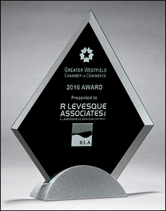 "Airflyte 3/8"" thick Diamond-shaped glass award with black silk screen on silver metal base 