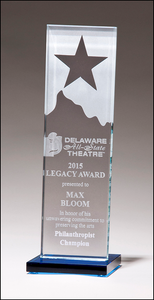 Airflyte 3/8 inch thick Etched clear glass award with star and mountain peak with blue glass base
