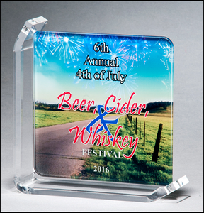 Airflyte Full Color Sublimatable glass award with acrylic stand | 2 SIZES