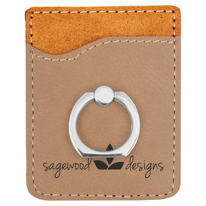 Customizable Leatherette Cell Phone Wallet with Finger Ring | 11 COLORS