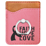 Customizable Leatherette Cell Phone Wallet Card Case with Finger Ring | 11 COLORS