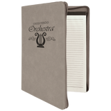 "Customizable Leatherette 9"" x 12"" Portfolio with Zipper and Paper Pad 