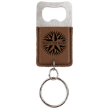 Customizable Leather Key Chain Bottle Opener - Squared/Rounded | 11 Colors Available