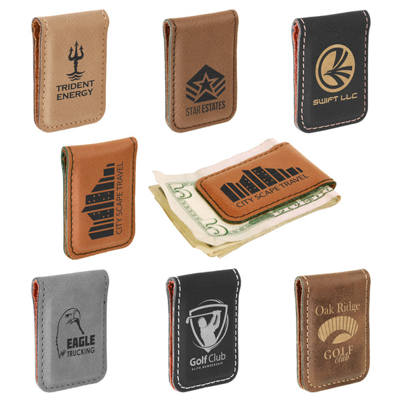 Customizable Leatherette Money Clips | 6 COLORS