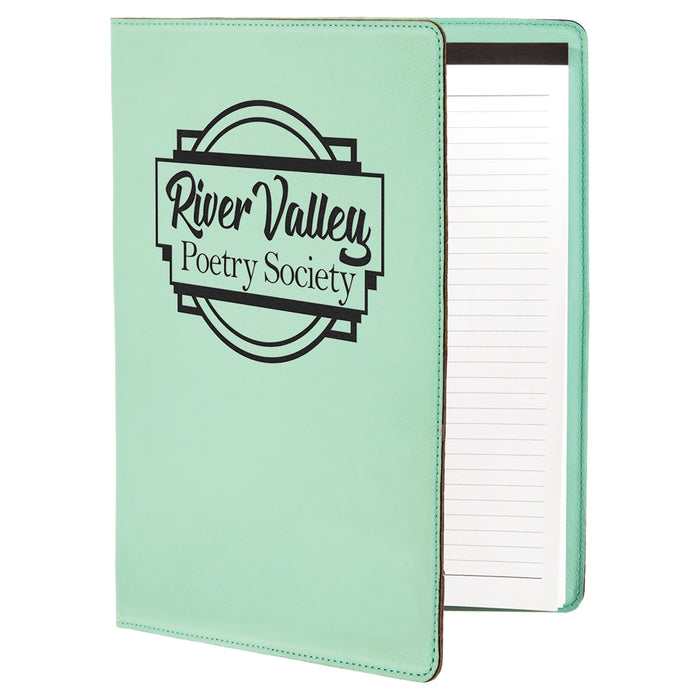 "Customizable Leatherette 9"" x 12"" Portfolio with Paper Pad 