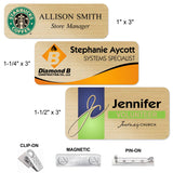 FULL COLOR Metal Name Badges MAGNETIC / PIN-ON / CLIP-ON Backing | 3 SIZES | 3 COLORS
