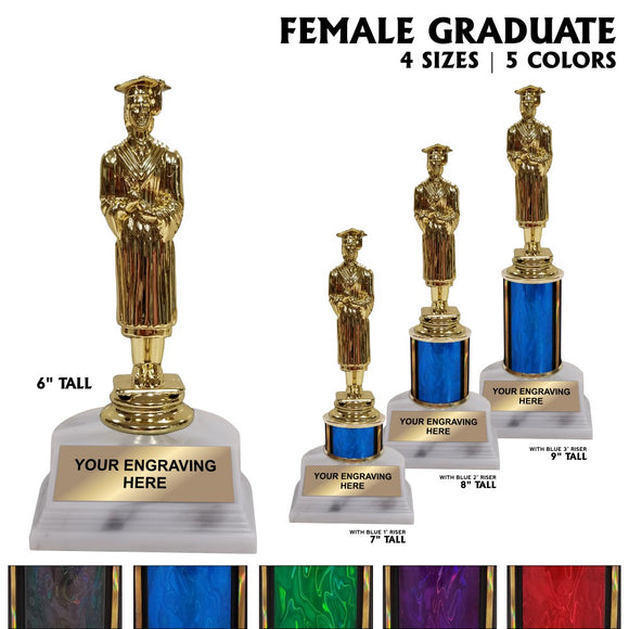 Female Graduate Award Trophies | 4 SIZES | 5 COLORS