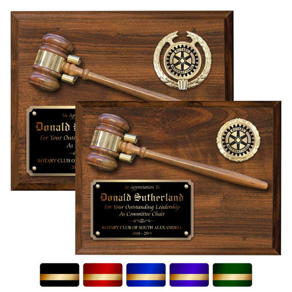 LA Trophies - Gavel Plaque with Genuine 10