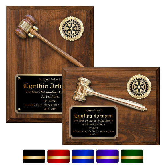 LA Trophies - Gavel Plaques for Recognition and Service 8x10, 9x12 | 5 PLATE COLORS