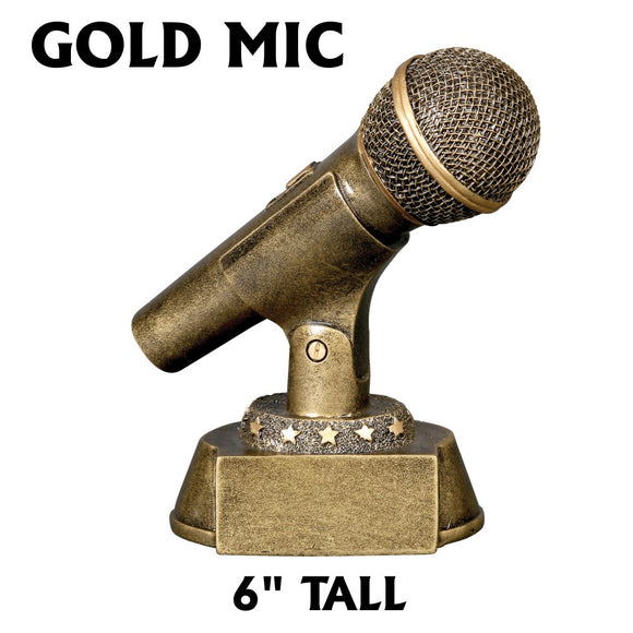 Golden Microphone 6 inch Music Voice Award Trophy