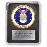 LA Trophies - HERO Award United States AIR FORCE Stainless Steel Chrome Plated Mirror Edge 10.5x13 Plaque