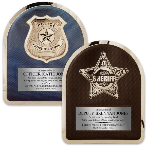 LA Trophies - HERO Law Enforcement Police and Sheriff Stainless Steel Chrome Plated Mirror Edge 10.5x13 Plaque | 2 DESIGNS