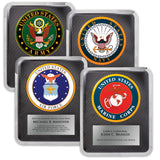 LA Trophies - HERO Military ARMY, NAVY, AIR FORCE, and MARINES Stainless Steel Chrome Plated Mirror Edge 10.5x13 Plaque | 4 DESIGNS